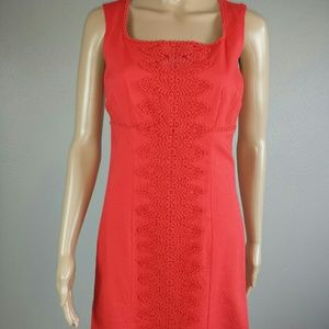 Boden Coral Dress with embroidered detail